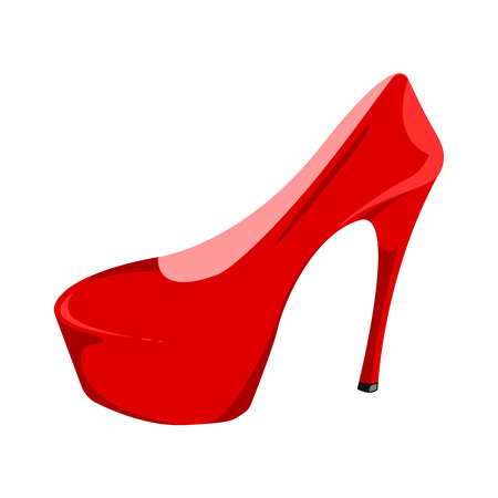 Womens red patent leather shoe isolated on a white background. Red shoe with a high heel. Icon for your site, design, UI. Vector illustration, EPS10.