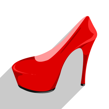 Womens red patent leather shoe isolated on a white background. Shoe icon with flat long shadow. Red shoe with a high heel. Icon for your site, design, UI. Vector illustration, EPS10. Stock Illustratie