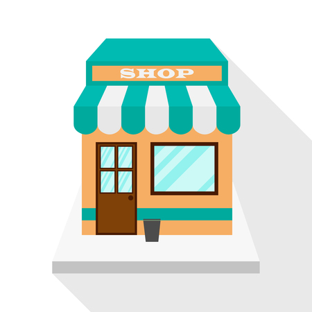 Storeshop icon with long flat shadow on white background. Flat design. Vector illustration, EPS10.
