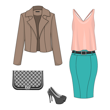 Set of fashion clothes for autumn, spring, summer season. Woman trendy and stylish clothing. Skirt, pink blouse, blazerjacket, shoes, handbag - clutch. Vector illustration, EPS10. Stock Illustratie