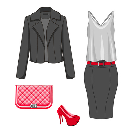 Set of fashion clothes for autumn, spring, summer season. Woman trendy and stylish clothing. Skirt, white/gray blouse, blazer/jacket, shoes, handbag - clutch. Vector illustration, EPS10.