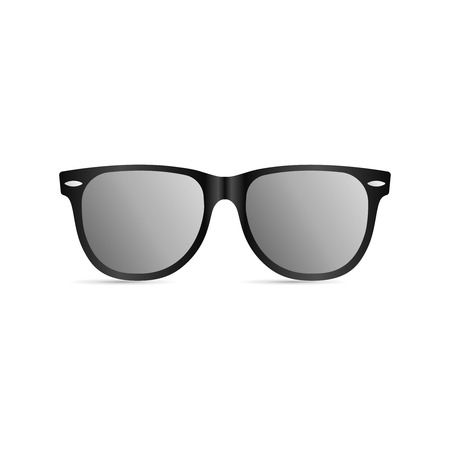 Sunglasses with black plastic frame isolated on white background. Vector illustration, EPS10.