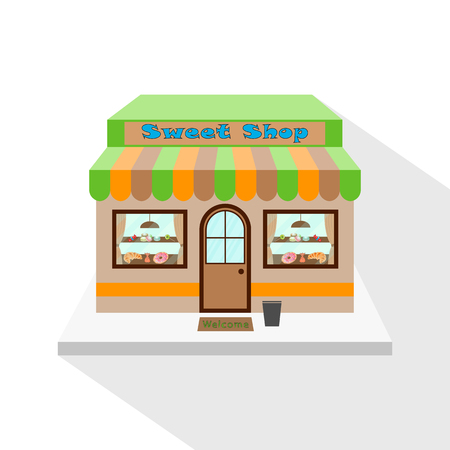 Sweets shop icon with long flat shadow on white background. Sweet shop facade, commercial building. Vector illustration, EPS10.