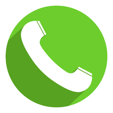 Telephone receiver icon in trendy flat style, flat shadow, isolated on a round green background. Telephone symbol for your design, logo, UI. Vector illustration, EPS10.