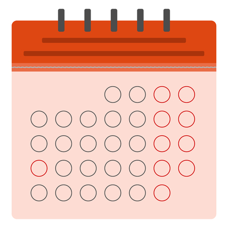 Red calendar flat icon. European version. Spiral calendar. Stitched calendar. Vector illustration, EPS10.