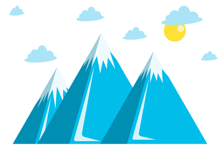 Vector horizontal panoramic illustration. Mountain winter banner, snowy hills, clouds and sun, web design. The concept of adventure for mountaineering. Vector illustration, EPS10. Stock Illustratie
