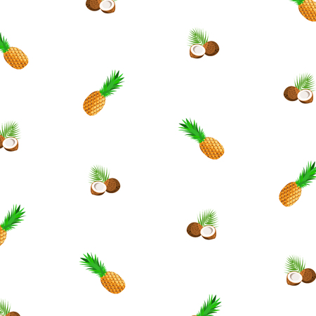 Seamless background with ripe pineapple and coconut - tropical fruits. Vector illustration, EPS10