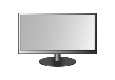 Frontal view of widescreen led or lcd tv, monitor isolated on white background. Vector illustration, EPS10. Stock Illustratie