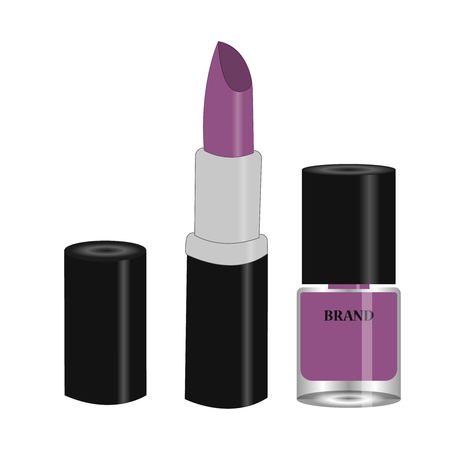 Womens lipstick product and violet nail polish in round glass bottle with black cap. Trendy violet colors for beauty salon, shop, blog print. Vector illustration, EPS10.