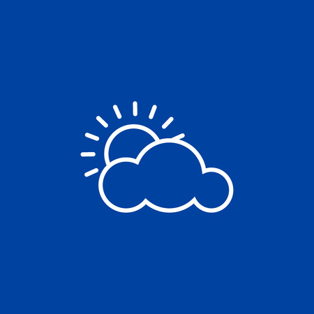Outline weather icon. Cloud and sun on blue background. Vector illustration, EPS10.