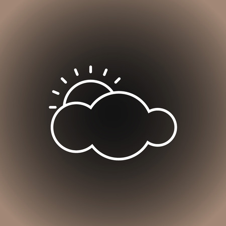 Outline weather icon. Cloud and sun on blackdark gray and beige gradient background. Vector illustration, EPS10.