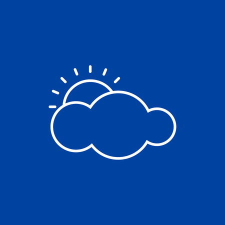 Outline weather icon on blue background. Cloud and sun illustration. Vector illustration, EPS10. Stock Illustratie