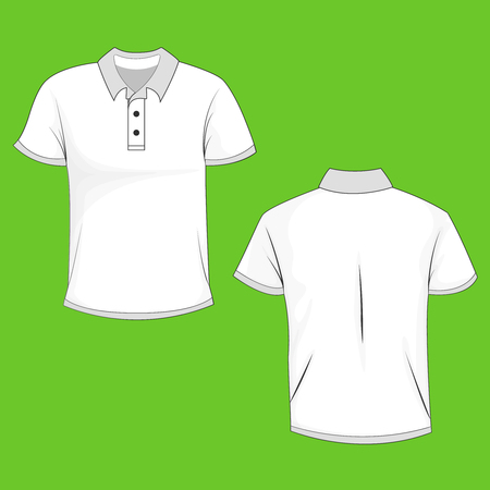 White polo, t-shirt mock up, front and back view, isolated on green background. Design polo shirt, template and mockup for print. Vector illustration, EPS10.
