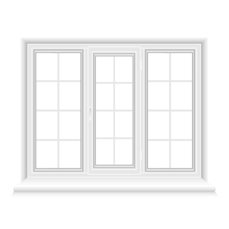 White triple window frame isolated on white background. Closed realistic window for architecture and interior design. Vector illustration, EPS10.