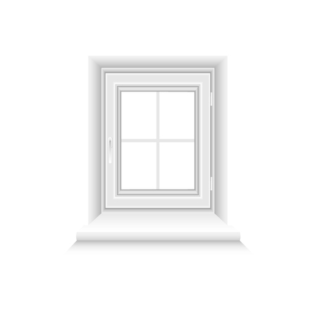 White window frame on white background. Closed realistic vector window element for architecture and interior design. Vector illustration, EPS10.