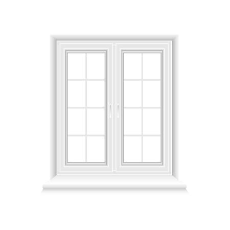 Traditional white window frame isolated on white background. Closed realistic vector window element for architecture and interior design. Vector illustration, EPS10.