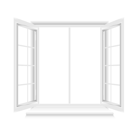 Opened white window frame on white background
