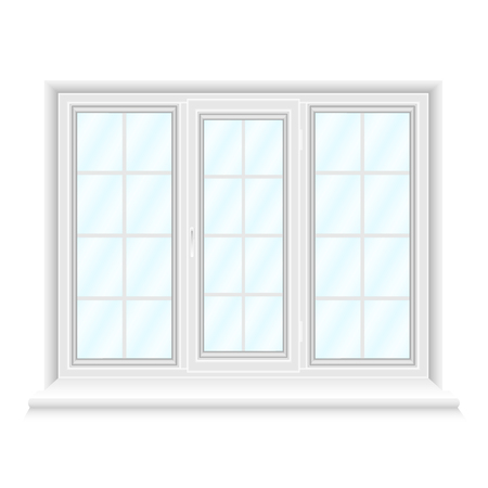 White triple window frame with blue glasses isolated on white background. Closed realistic window for architecture and interior design. Vector illustration, EPS10.
