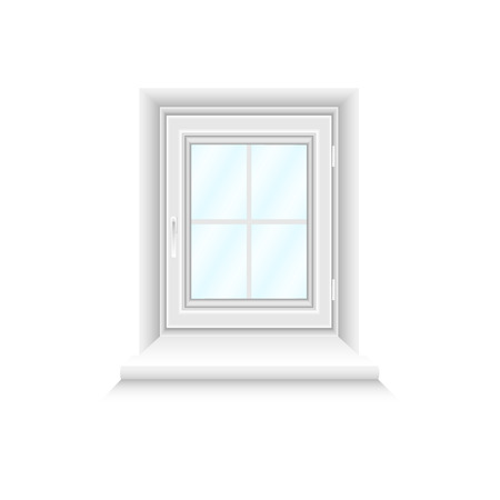 White window frame on white background with blue gradient glasses. Closed realistic vector window element for architecture and interior design. Vector illustration, EPS10.