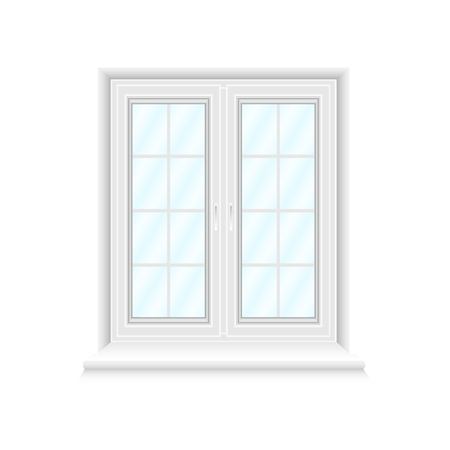 White double window frame on white background with blue gradient glasses. Closed realistic vector window element for architecture and interior design. Vector illustration, EPS10.