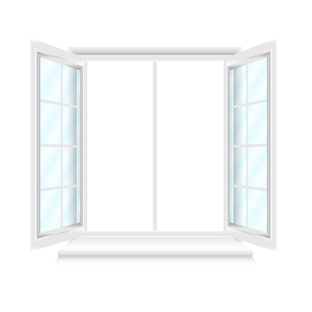 Opened white window frame isolated on white background. Opened realistic vector window element for architecture and interior design. Vector illustration, EPS10.