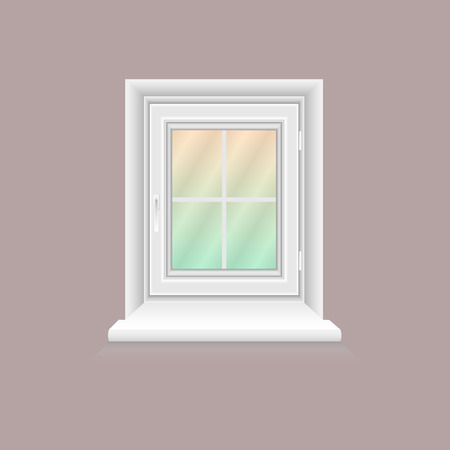 White window frame on lilac wall. Closed realistic vector window element for architecture and interior design. Vector illustration, EPS10.