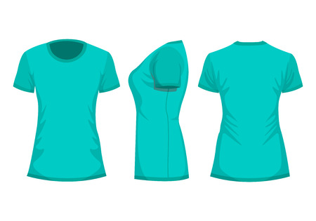 Turquoise womans t-shirt with short sleeve. Front, back, side view. Isolated on white background. Vector illustration, EPS10.