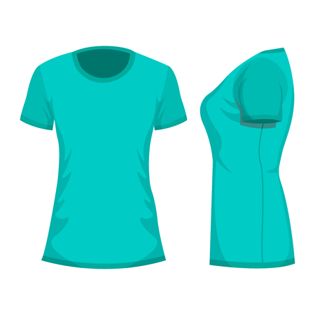 Turquoise womans t-shirt with short sleeve. Front, side view. Isolated on white background. Vector illustration, EPS10. Stock Illustratie