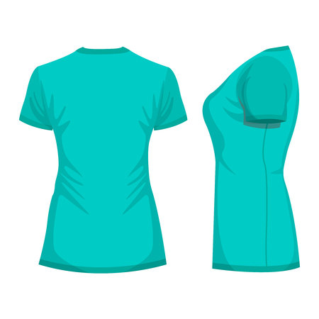 Turquoise womans t-shirt with short sleeve. Back, side view. Isolated on white background. Vector illustration, EPS10. Stock Illustratie