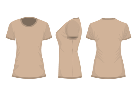 Beige womans t-shirt with short sleeve. Front, back, side view. Isolated on white background. Vector illustration, EPS10.