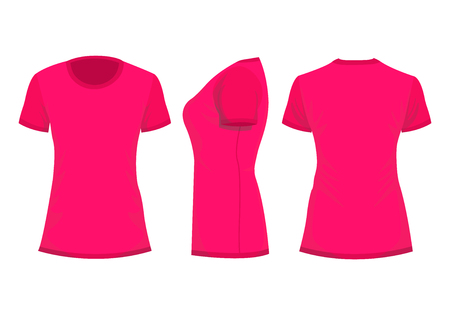 Crimson  pink womans t-shirt with short sleeve. Front, back, side view. Isolated on white background. Vector illustration, EPS10.