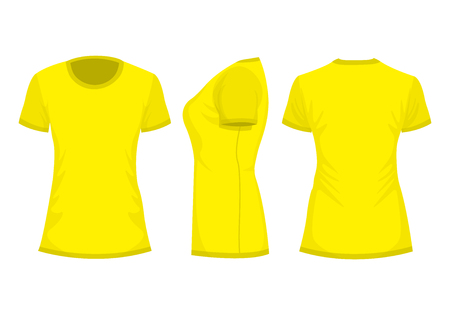 Yellow womans t-shirt with short sleeve. Front, back, side view. Isolated on white background. Vector illustration, EPS10.