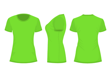 Green womans t-shirt with short sleeve. Front, back, side view. Isolated on white background. Vector illustration, EPS10.