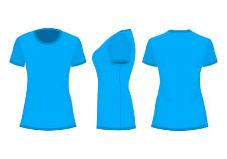 Blue womans t-shirt with short sleeve. Front, back, side view. Isolated on white background. Vector illustration, EPS10.