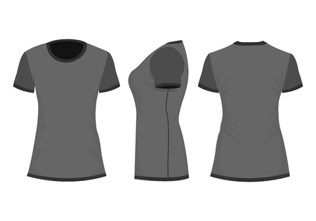 Blackdark gray womans t-shirt with short sleeve. Front, back, side view. Isolated on white background. Vector illustration, EPS10.