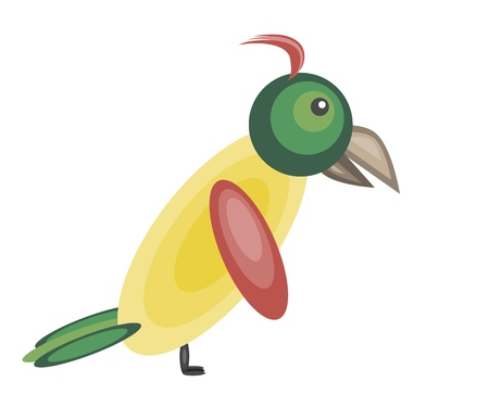 Cute colorful yellow parrot with green tail, red wings and crest