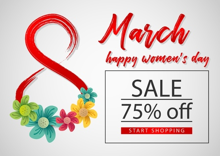 8 march (Womens Day) sale banner with flowers. Template for voucher, brochure or site