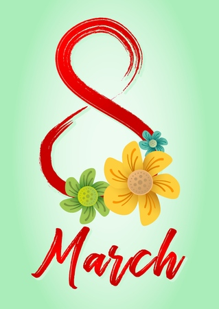 Design of a banner, flyer or greeting card for 8 march (Womens Day). Number 8 with shadow and congratulatory inscription Stock Illustratie