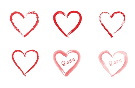 Set of different red hearts - hand drawn, watercolor. Hearts with Love label. Stock Illustratie