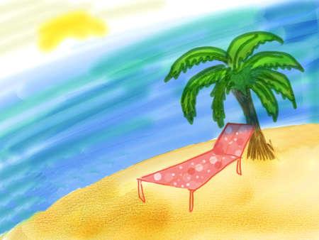 to sunbathe: Beach with tree and  lounge chair near the sea.
