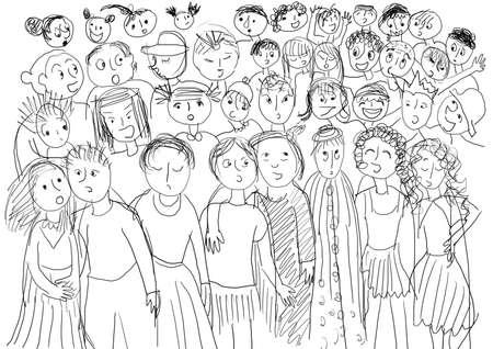 Chorus with many children, black and white.  photo