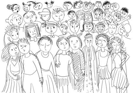 by mass: Chorus with many children, black and white.  Stock Photo