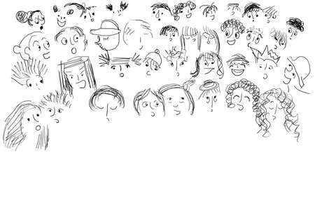 adverse: Chorus with many faces of children, black and white.  Stock Photo