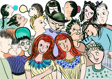 antagonistic: ilustration with many childrens talking and laughing Stock Photo