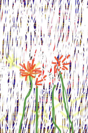 bot: Detail of garden with red flowers.