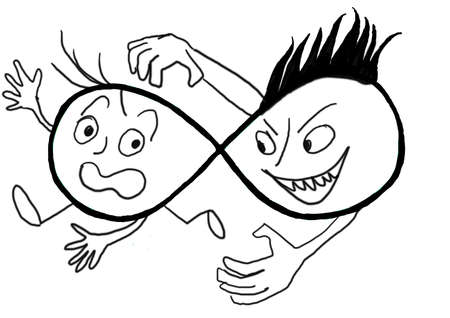 hectic: Caricature black and white with two characters.  Stock Photo