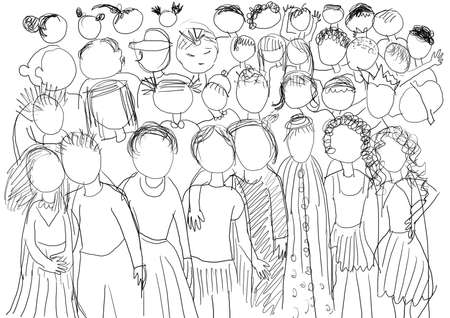 desolación: Ilustración con muchos niños, en blanco y negro.