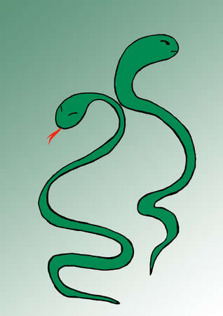 astute: Illustration with snakes, symbol, animal