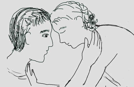 Drawing: couple, black and white.