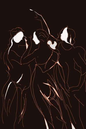 goddesses: Semi abstract draw of the three graces in black, brown and white. The Three Graces: goddesses of charm, beauty, nature, human creativity and fertility. Stock Photo